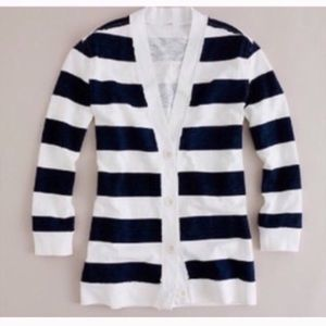 J. Crew Navy and White Striped Button Up Cardigan